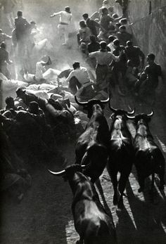 The running of the bulls in Pamplona By Inge Morath