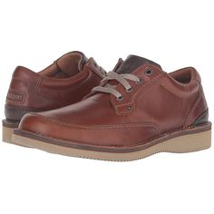 Rockport Prestige Point Mudguard Oxford (Tan 2) Men's Lace up casual... ($128) ❤ liked on Polyvore featuring men's fashion, men's shoes, men's oxfords, mens tan leather shoes, mens tan oxford shoes, mens leather lace up shoes, mens leather oxford shoes and mens oxford shoes