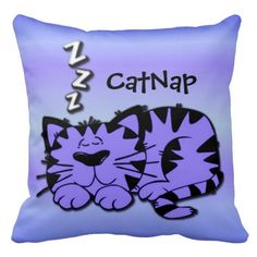 Cute Purple Kitty Cat Nap Throw Pillow
