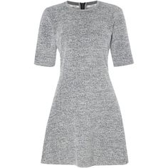 Calvin Klein Ranna drop waist dress in light grey heather ($200) ❤ liked on Polyvore featuring dresses, light grey, women, waist dress, calvin klein, short sleeve dress, skater dress and loose fitting dresses