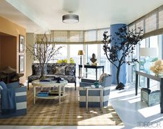 The living room of the ELLE DECOR Showhouse at Paramount Bay in Miami, designed by Lars Bolander.