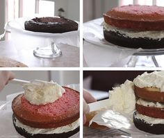 Neapolitan Cake with Cream Cheese Buttercream Frosting