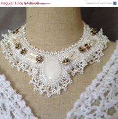 ON SALE Bead Embroidered Collar  White Agate by bjswearableart, $81.00