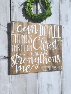 I can do all things through Christ who strengthens me, Philippians Bible verse wall art, scripture sign, Bible verse wood, Farmhouse Bible Verse Signs, Bible Verse Wall Art, Quote Art, Scripture Art, Scriptures, Christian Christmas Gift, Christmas Gifts For Mom, Christmas Signs, Diy Wall Art