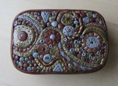 Polymer Clay Hinged Tin Abstract Metal Glitter by ColorfulClay