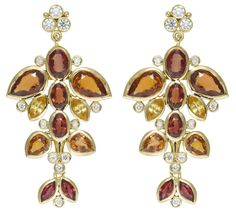Temple St. Clair 18K Flying Fish Earrings with red sapphire, orange sapphire, yellow sapphire, and diamonds