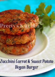 Zucchini Carrot & Sweet Potato Vegan Burger / Patty / Tikki make this GF by substituting the flour n breadcrumbs w an alternative. Healthy Recipes, Vegetable Recipes, Whole Food Recipes, Vegetarian Recipes, Cooking Recipes, Vegetable Burger Recipe, Vegetarian Barbecue, Vegetarian Cooking, Veggie Food