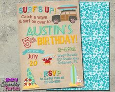 Surf Party Birthday Invitation - Beach Party Invitation - Printable (Digital File Only) Summer Birthday Party Ideas