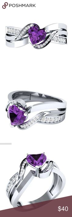 💕 Beautiful Purple Amethyst S925 Silver Ring ❤️ Absolutely beautiful. Purple Amethyst gemstone. Tiny white diamond encrusted band. S925 Sterling silver stamped band . 1..0 carat 💎 Gemstone total weight.  Clarity clear. Quality H. Color flawless. Cut heart ❤️. Comes in black velvet gift bag wrapped and shipped with care and tracking provided. Fire & Ice  Jewelry Rings