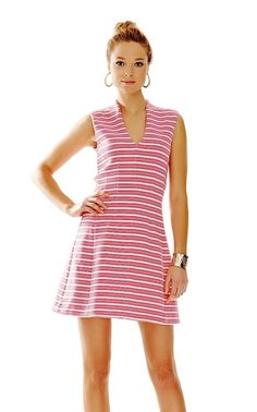 Lilly Pulitzer Capri Pink Ottoman Stripe Briana Fit & Flare Dress M New #LillyPulitzer #Sheath #Festive