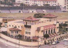 O prédio de General Severiano sede do Botafogo e ao fundo o campo do clube que foi construído em 1913 e demolido em 1977.