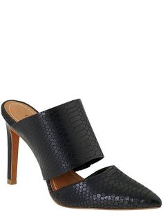 Black pointy mules