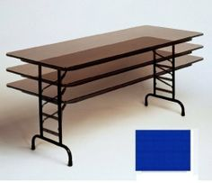 High Pressure Tables Top Folding Adjule Height Blue By Correll 391 65 1 125 In 14 Gauge Steel Wishbone Legs Finish 30 X 60
