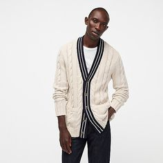 Crew for the Varsity cable-knit V-neck cardigan sweater for Men. Find the best selection of Men Clothing available in-stores and online. Cable Knit Cardigan, V Neck Cardigan, Sweater Hoodie, Men Sweater, Mens Fashion Blog, Best Mens Fashion, Cotton Sweater, Cashmere Sweaters, Crew Clothing