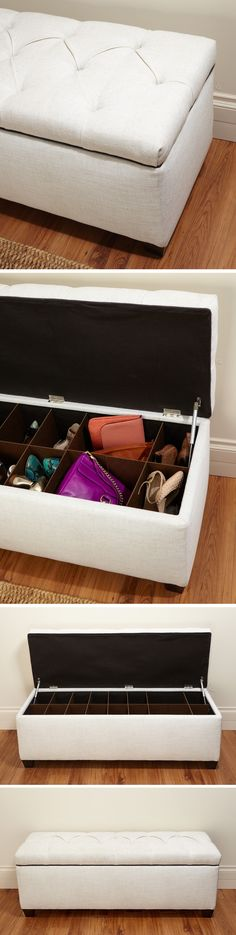 Upholstered shoe storage ottoman bench // Need this! So perfect for bedroom or hall organisation