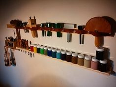 Second tool rack completed in time for 13 new edge paint colour, pretty excited to try them out. Leather Working Tools, Tool Rack, House Studio, Painting Edges, Leather Craft, Wine Rack, Paint Colors, Carving, Colour