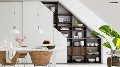 Under Stairs Office Space . Under Stairs Office Space . 10 Under Stair Storage Ideas that Make Your House Look Shelves Under Stairs, Interior Design, Staircase Wall Decor, Interior Design Under Stairs, House Interior, Staircase Storage, Small Spaces, Staircase Design, Stairs In Kitchen