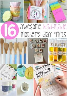 Awesome Kid-Made Mother's Day Gifts. Homemade refrigerator magnets, bath bombs, personalized stationary... tons of fun Mother's Day gifts from kids.