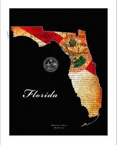 FLORIDA+Map+Map+of+Florida+Jacksonville+Florida+by+WaterColorMaps