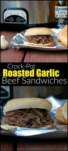 These Crock-Pot Roasted Garlic Beef Sandwiches are SO flavorful, delicious and EASY!  We almost always have these ingredients on hand.  We couldn't stop picking at the beef in the crock-pot LOL!