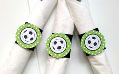 Soccer Party  Napkin Rings  Silverware Wraps by getthepartystarted, $9.00