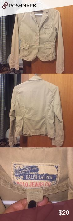 Polo Ralph Lauren Distressed Blazer XS Distressed cotton blazer. Versatile and stylish. No flaws. Excellent used condition. ⚡⚡⚡Super fast shipper⚡⚡⚡💜💜Make an offer💜💜 Polo by Ralph Lauren Jackets & Coats Blazers