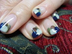 Gradient nail art - Multi coloured (Green, brown, blue and white)