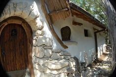 Front Door - a straw bale home built by a man in Texas named Zuker.