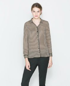 Cotton Blends Constrast Lapel Long Sleeve Button Fly Striped Tops JC537-1 US$19.6