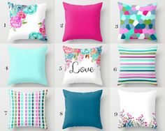 Mix and Match throw pillow cover design. These are done in beautiful bright spring colors! Individually cut and sewn, features a 2 sided print and is finished with a zipper for ease of care. SIZES: 16in. X 16in. 18in. X 18in. 20in. X 20in. 26in. X 26in. (euro) 14in. X 20in. (lumbar) IMPORTANT: These are COVERS ONLY! You can cover your existing pillows or purchase inserts online or at any local craft store. FABRIC: Spun Poly Poplin. Medium weight high quality fabric that is durable and sli...