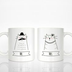Set of 2 MR and MRS Mugs, Couple Mugs, Cat Mugs, Wedding Gift for Couple, Engagement Gift, Anniversary Gift, Cute Animal Mugs, Coffee Mugs by HappyCatPrintables on Etsy https://www.etsy.com/listing/238228624/set-of-2-mr-and-mrs-mugs-couple-mugs-cat