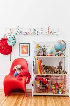 Heath Nash it's beautiful here coat rack styled by Jordan of Oh Happy Day, bright and colorful playroom decor, kid room decor Ideas Habitaciones, Deco Kids, Kids Bookcase, Kids Corner, Nursery Inspiration, Kid Spaces, Kids Decor, Decor Ideas, Girl Room