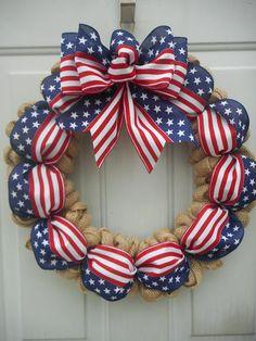 Americana burlap wreath Americana decor Patriotic decor