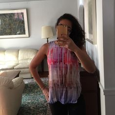 Geometric Top New with tags! Tank blouse from FO21. Geometric shapes, hues of pink/purple. Size small. Half-way zip down back. Slits on sides. 100% rayon Forever 21 Tops Blouses