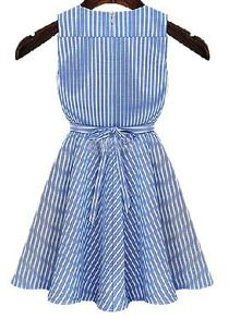 V Neck Striped With Belt Flare Blue Dress