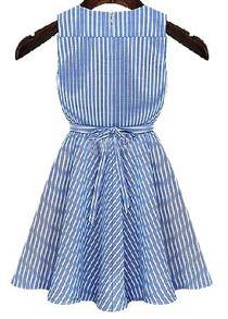 V Neck Striped With Belt Flare Blue Dress