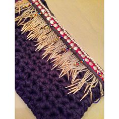 SOLD OUT Hand made crochet clutch with tribal by Remysoneandonly