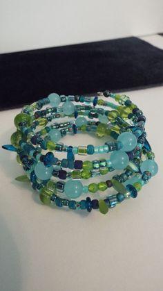 Blue green memory wire bracelet by LeopardLadyJewels