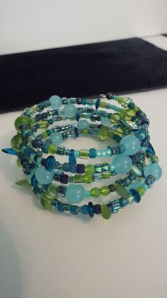 Blue green memory wire bracelet by LeopardLadyJewels