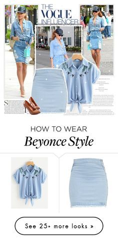 A fashion look from December 2017 featuring short-sleeve button-down shirts, short denim skirts and heel pump. Browse and shop related looks. Rihanna Outfits, Beyonce Style, Giuseppe Zanotti, Denim Skirt, Take That, Vogue, Fashion Looks, Chanel, Times