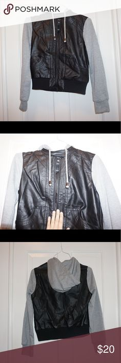 Leather/hoodie jacket 😎🖤🔥 Leather/ grey hoodie jacket. Very comfortable on. Worn once, in perfect condition. Zippers in the front, buttons at top. Pockets in the front. Removable hood. Forever 21 Jackets & Coats