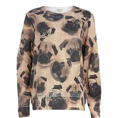 Beige pug print sweatshirt - sweaters / hoodies - t shirts / tanks / sweats - women
