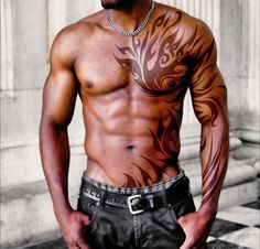Another Mens Tribal Chest Tattoo http://www.menstattooideas.com