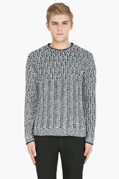Marc By Marc Jacobs Navy & White Knit Emmitt Sweater for men | SSENSE