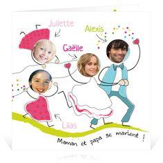 Faire-part de mariage spécial Famille 2 filles - Cardissime