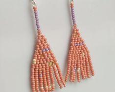 Beaded Fringe earrings by Boosiko Fringe Earrings, Round Earrings, Bead Earrings, Tassel Necklace, Brick Stitch, Silver Diamonds, Bead Art, Boho Chic, Beaded Jewelry