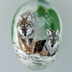 Hand Painted Glass Christmas Ornament Two Wolves by HarmanArt