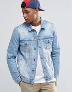 Image 1 of ASOS Denim Jacket in Mid Wash With Rips