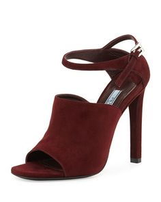 Suede Wide Band Ankle-Strap Sandal, Amaranto by Prada at Bergdorf Goodman.
