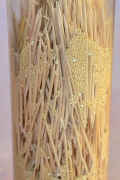 DIY Sensory Bottles: Rain Stick - made with toothpicks and grain
